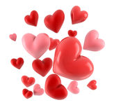 3d hearts isolated on white Stock Photos