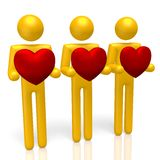 3D hearts, love concept. 3D human characters holding hearts Stock Illustration