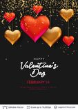 3D hearts and luxurious golden frame on black. Easy to edit vector background. Holiday greeting card design Royalty Free Stock Photography