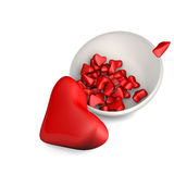3d hearts in a plate on white background. Valentin's day 3D illustration heart Royalty Free Stock Images