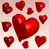 3D hearts. Set of 3D hearts vector illustration. Valentines day Royalty Free Stock Photography