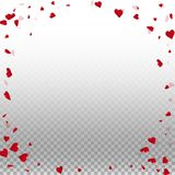 3d hearts valentine background. Corner frame on transparent grid light background. 3d hearts valentines day fantastic design. Vector illustration vector illustration