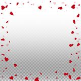 3d hearts valentine background. Chaotic border on transparent grid light background. 3d hearts valentines day extraordinary design. Vector illustration stock illustration