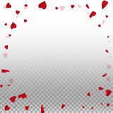 3d hearts valentine background. Round random frame on transparent grid light background. 3d hearts valentines day original design. Vector illustration vector illustration