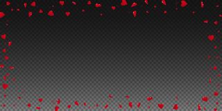 3d hearts valentine background. Wide scattered frame on transparent grid dark background. 3d hearts valentines day fetching design. Vector illustration royalty free illustration