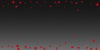 3d hearts valentine background. Scattered border on transparent grid dark background. 3d hearts valentines day tempting design. Vector illustration royalty free illustration
