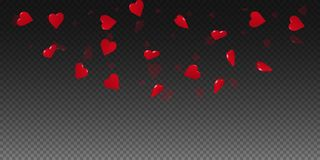 3d hearts valentine background. Top semicircle on transparent grid dark background. 3d hearts valentines day delightful design. Vector illustration vector illustration