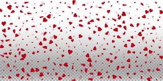 3d hearts valentine background. Wide scatter on transparent grid light background. 3d hearts valentines day fair design. Vector illustration stock illustration