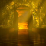 3d Heaven's Door. 3d backgrounds door opened in the building Stock Photo