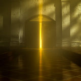 3d Heaven's Door. 3d backgrounds door opened in the building Stock Images