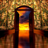 3d Heaven's Door. 3d backgrounds door opened in the building Royalty Free Stock Photography