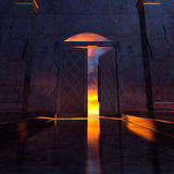 3d Heaven's Door. 3d backgrounds door opened in the building Stock Photos