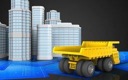 3d of heavy truck. 3d illustration of heavy truck with urban scene over black background Stock Images