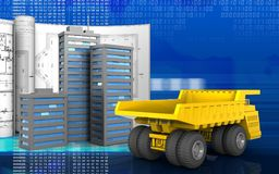 3d of heavy truck. 3d illustration of city buildings with drawings over digital background Royalty Free Stock Photography