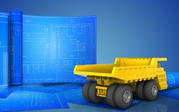 3d of heavy truck. 3d illustration of heavy truck with drawing roll over blue background Stock Photography