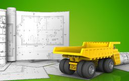 3d of heavy truck. 3d illustration of heavy truck with drawings over green background Stock Photos