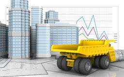 3d of heavy truck. 3d illustration of heavy truck with urban scene over business graph background Royalty Free Stock Photography