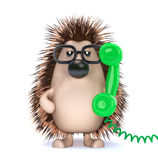 3d Hedgehog answers the green phone Stock Image