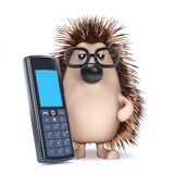 3d Hedgehog chats on his cellphone Royalty Free Stock Photos