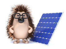 3d Hedgehog collects energy from the sun Royalty Free Stock Photos