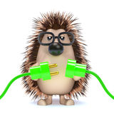3d Hedgehog connects the green energy Royalty Free Stock Images