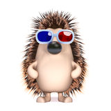 3d Hedgehog in 3d glasses Stock Images