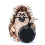 3d Hedgehog has a bomb Stock Image