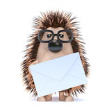 3d Hedgehog has mail Royalty Free Stock Photography