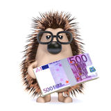 3d Hedgehog has a wad of Euro banknotes Royalty Free Stock Image