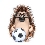 3d Hedgehog playing football stock illustration