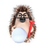 3d Hedgehog plays golf Stock Photo