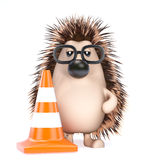 3d Hedgehog roadworks Royalty Free Stock Image