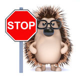 3d Hedgehog says Stop! Royalty Free Stock Photos