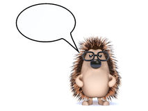 3d Hedgehog with speech bubble. 3d render of a hedgehog with a speech balloon Stock Images