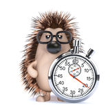 3d Hedgehog with a stopwatch Stock Photo