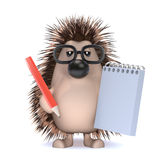 3d Hedgehog takes notes at the meeting vector illustration