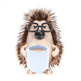 3d Hedgehog tea break Royalty Free Stock Image