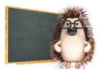 3d Hedgehog teaches at the blackboard. 3d render of a hedgehog by a blackboard Stock Photo