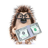 3d Hedgehog with US Dollars Stock Image