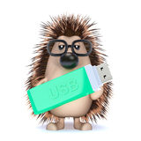 3d Hedgehog with a USB memory stick Royalty Free Stock Photography