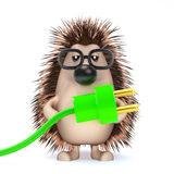 3d Hedgehog uses green energy royalty free illustration