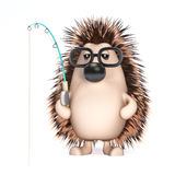 3d Hedghog is fishing Stock Photos