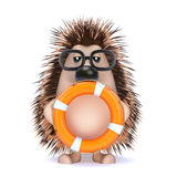 3d Hedghog with a lifebelt royalty free illustration