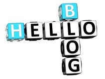 3D Hello Blog Crossword. On white background Stock Photo