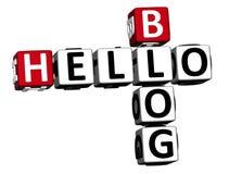 3D Hello Blog Crossword Stock Photo