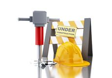 3d Helmet with jackhammer and under construction sign. 3d illustration. Helmet with jackhammer and under construction sign. Construction concept. Isolated white Royalty Free Stock Photography