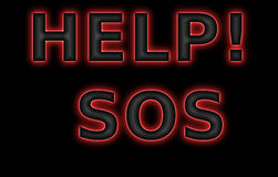3D help sos text with an inscription the SOS Royalty Free Stock Images