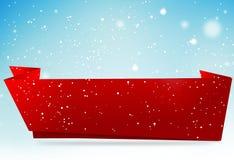 3d hemel van de wintersneeuwvlokken van exemplaar geeft de ruimte rode baner backgroud terug Royalty-vrije Stock Afbeelding