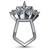 3d heraldic  template with five pentagonal silver stars, c Royalty Free Stock Image