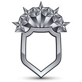 3d heraldic vector template with five pentagonal silver stars, c Royalty Free Stock Image